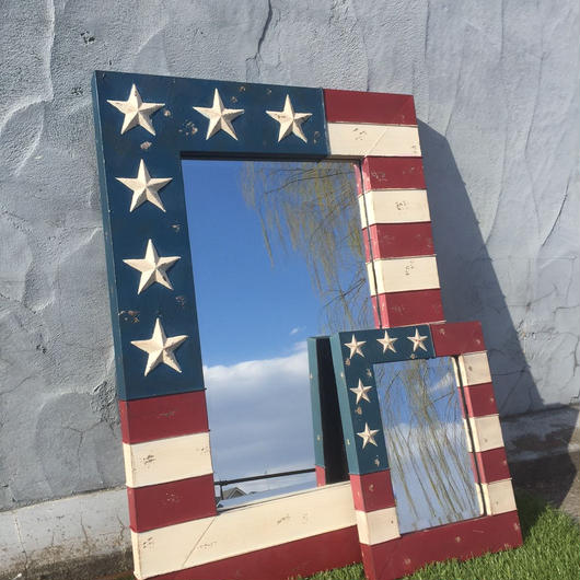 USA フラッグフレーム 星条旗 ミラー サイズM