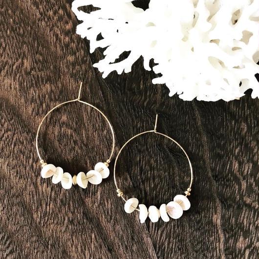 14KGF Puka Shell Boho Hoop Earrings S size