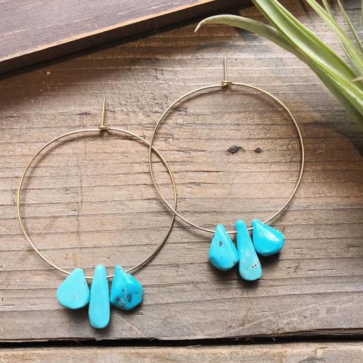14KGF Turquoise Fan Hoop Earrings