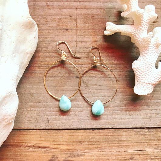 14KGF Larimar Small Hoop Earrings