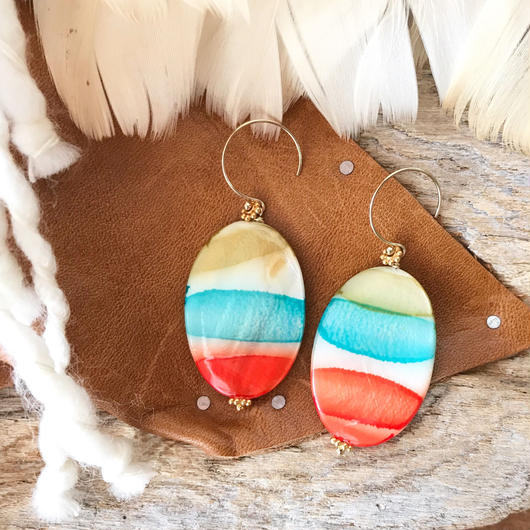 14KGF Sun & Sea Border Retro Earrings