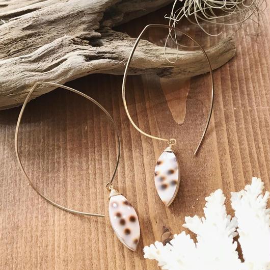 14KGF Leopard Shell Hoop Earrings