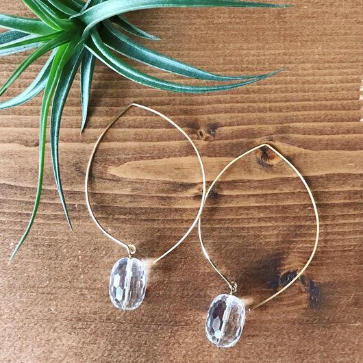 14KGF Sun Shower Crystal Big Hoop Earrings