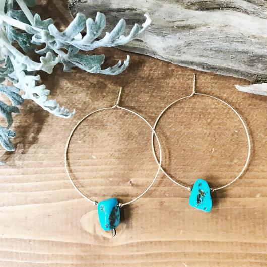 14KGF Turquoise Rock Hoop Earrings