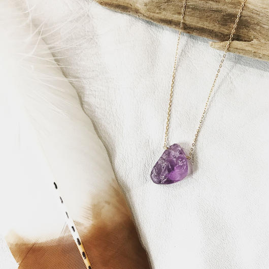 14KGF Amethyst  Rock Necklace