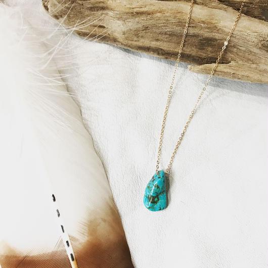 14KGF Turquoise Tear Drop Necklace