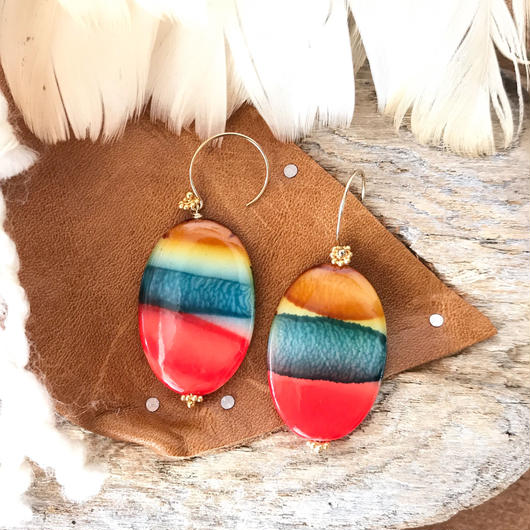14KGF Strong Nature Border Retro Earrings