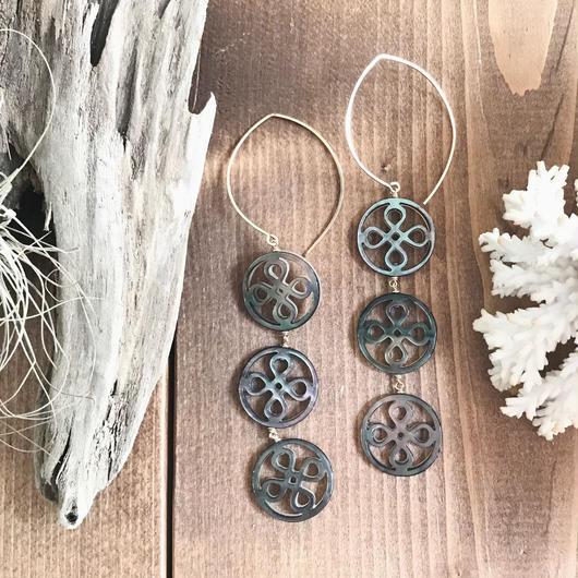 14KGF Black brown Patterned Shell Hoop Earrings