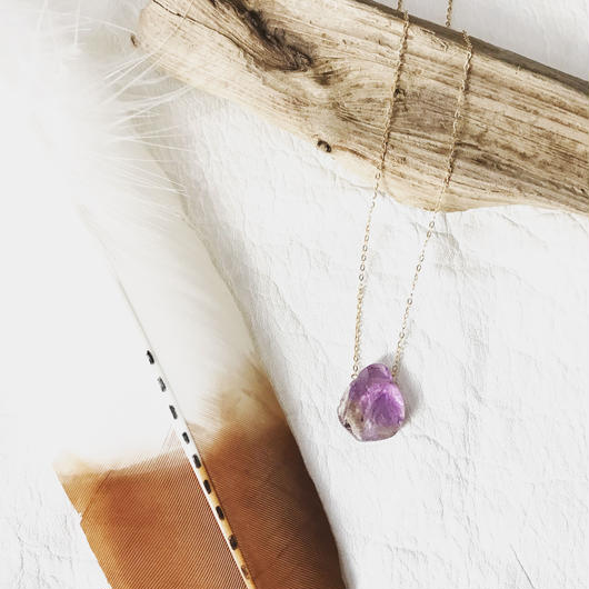 14KGF Ametryne Rock Necklace