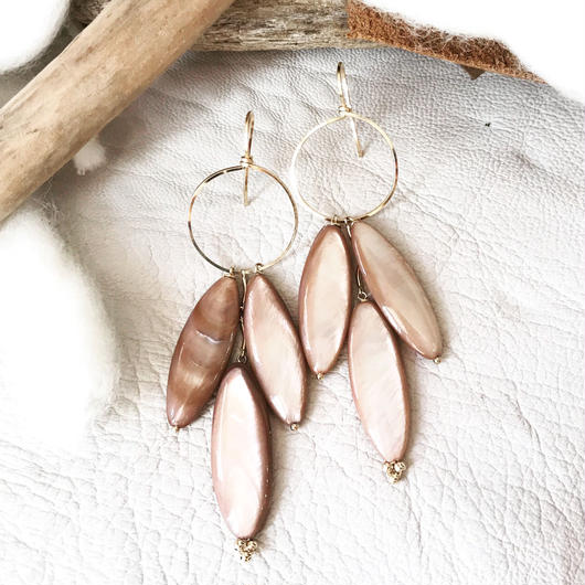 14KGF Classic Rose Shell Boho Earrings