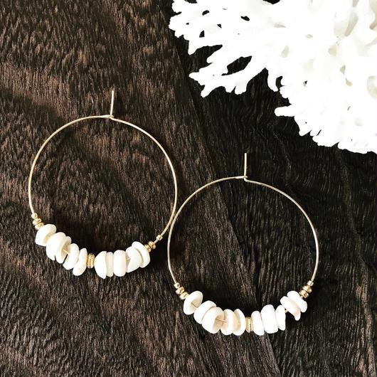 14KGF Puka Shell Boho Hoop Earrings M size