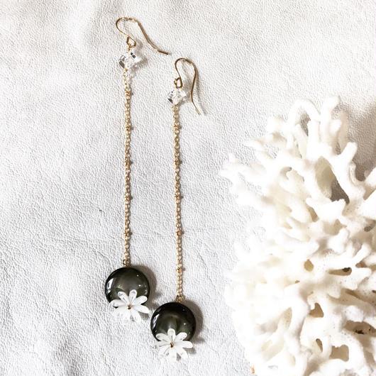 14KGF Tahitian Black Shell & Tiare Long Earrings