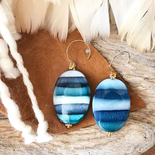 14KGF Blue Border Retro Earrings