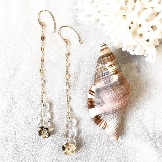 14KGF Brown Shell Flower Floating Earrings