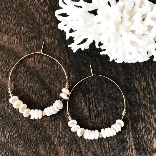 14KGF Puka Shell Boho Hoop Earrings L size