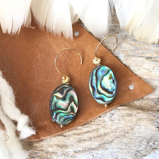 14KGF Abalone Shell Simple Earrings