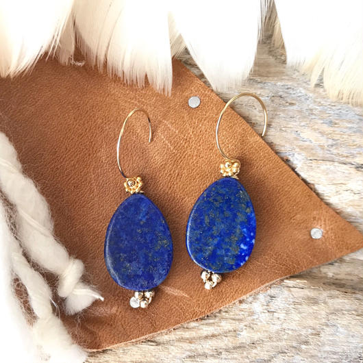 14KGF Lapislazuli Simple Earrings