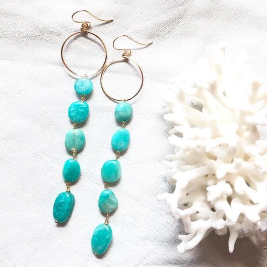 14KGF Lanikai Blue Long Earrings