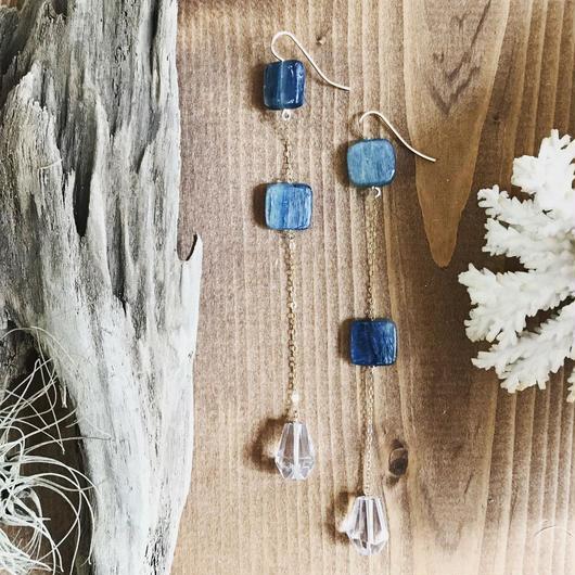 14KGF Kyanite & Crystal Asymmetry Line Earrings