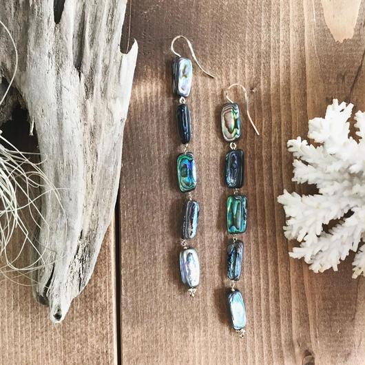 14KGF Abalone Shell Long Line Earrings