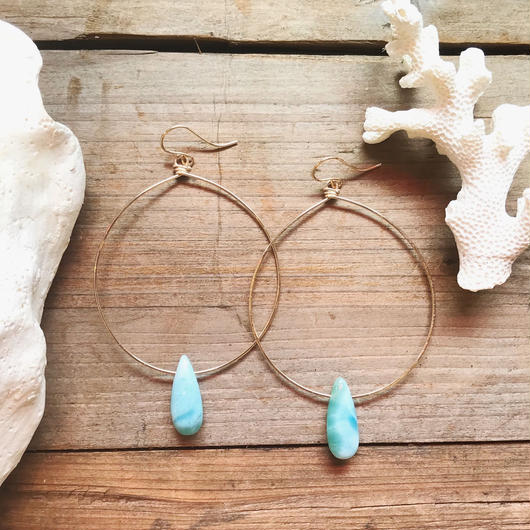 14KGF Larimar Big Hoop Earrings