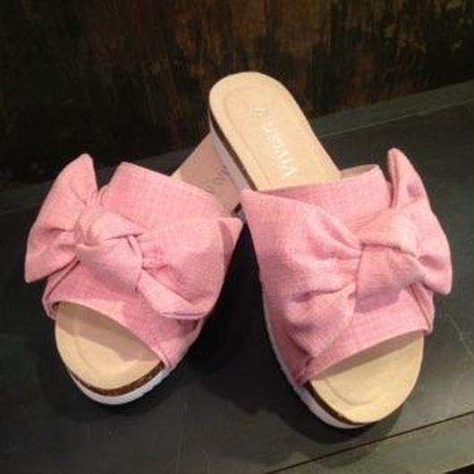 リボンシャークソールサンダル ピンク