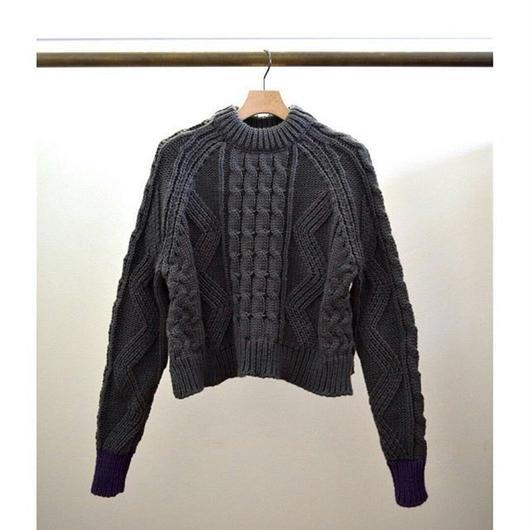 cable knit color cuffs pullover C GRAY ×PURPLE