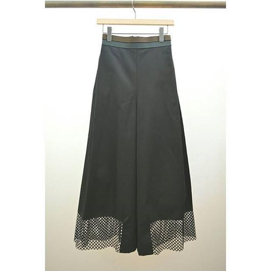 mesh hem side tuck wide pants BLACK