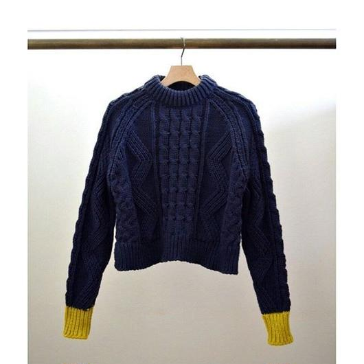 cable knit color cuffs pullover NAVY×MUSTARD