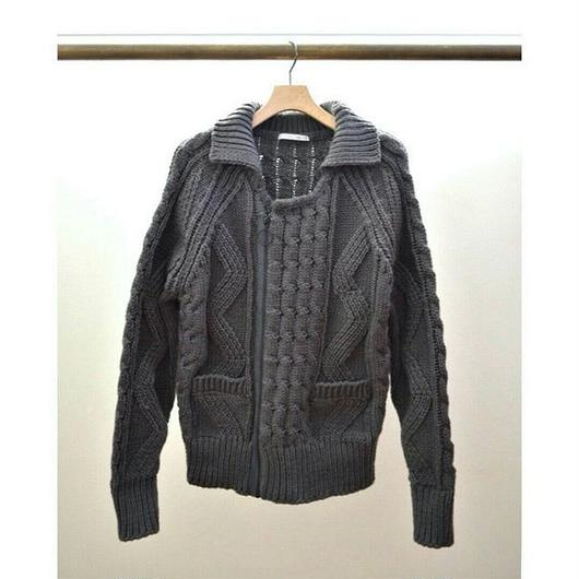 cable knit ring zip jacket C GRAY