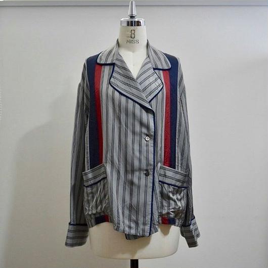 cupro stripe pajamas shirt GRAY