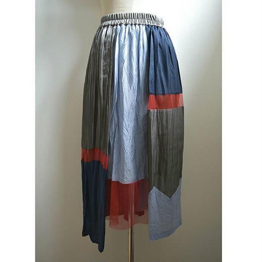 color block gather skirt GRAY MIX
