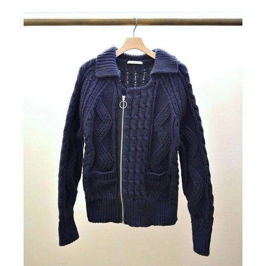 cable knit ring zip jacket NAVY