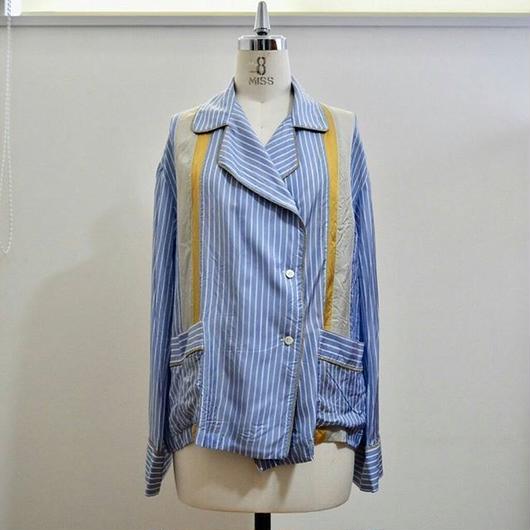 cupro stripe pajamas shirt BLUE