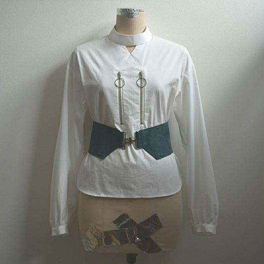 comer belt double ring zip blouse WHITE×GREEN