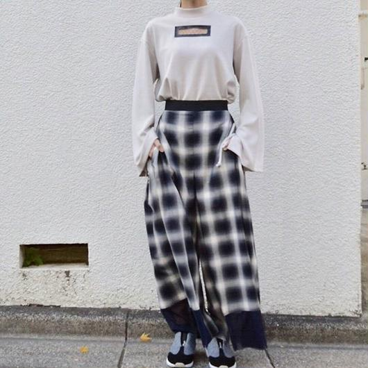 tulle hem ombre check side tuck pants CHARCOAL