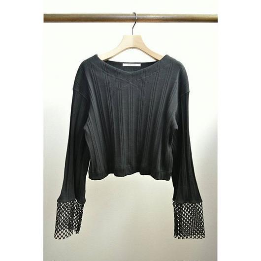 mesh cuffs L/S rib tops BLACK