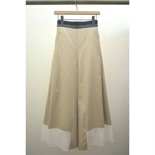 mesh hem side tuck wide pants BEIGE
