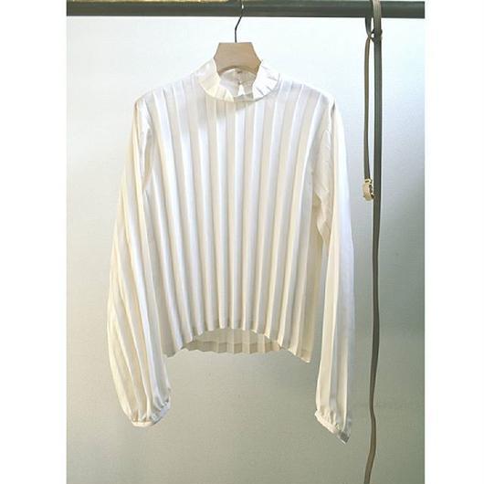 pleated blouse with herringbone belt WHITE