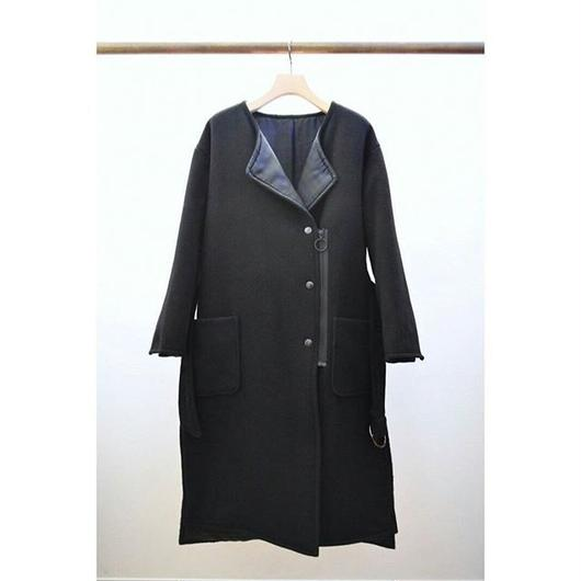 belted wool mix coat BLACK