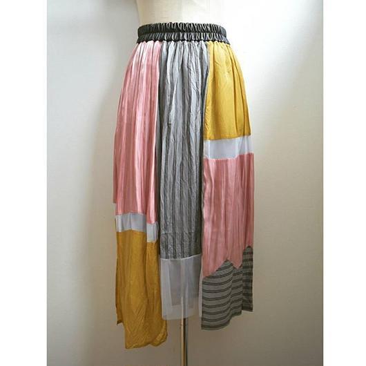 color block gather skirt PINK MIX