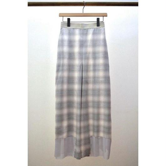tulle hem ombre check side tuck pants GREGE