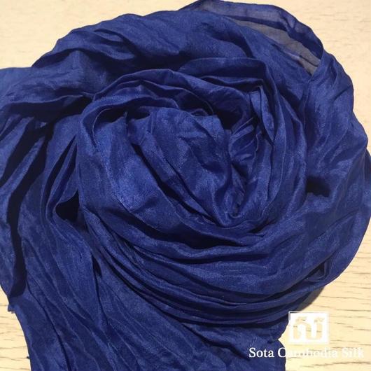 ソウタカンボジアシルク プレゼント ソフトシルクスカーフ 手織りスカーフ ブルー ハンドメイド 着物 ダマスク 更紗 ファッション 人気スカーフ プレゼント ギフト