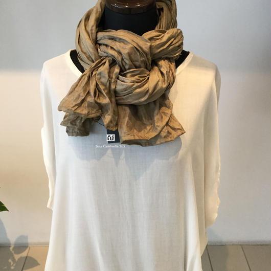 ソウタカンボジアシルク ソフトシルクスカーフ ハンドメイド 手織りスカーフ ベージュ 着物 紬  ダマスク 更紗 ファッション プレゼント ギフト 人気商品
