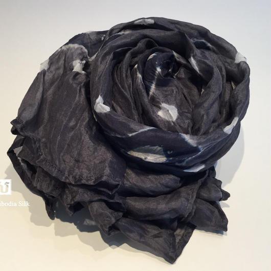 ソウタカンボジアシルク カンボジアシルクスカーフ シルクスカーフ スカーフ 手織りスカーフ ファッション グレー アジアン雑貨 シルク雑貨