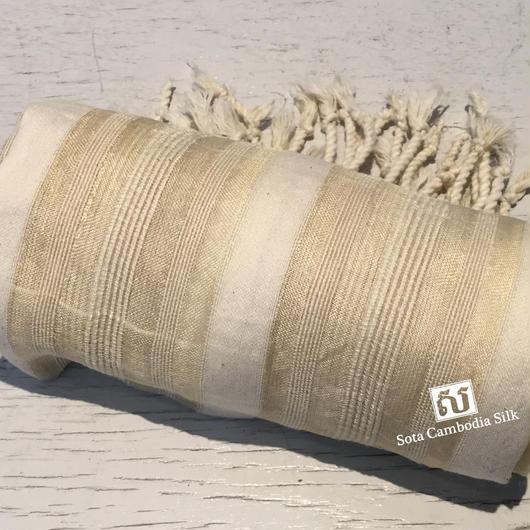ソウタカンボジアシルク 夏ファッション プレゼント ギフト商品 ハンドメイド 手織りスカーフ カンボジアシルクスカーフカンボジアシルク雑貨 イベント ベージュ ファッション メンズファッション