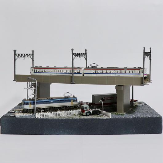 複線立体交差 ミニジオラマ(モジュールレイアウト)