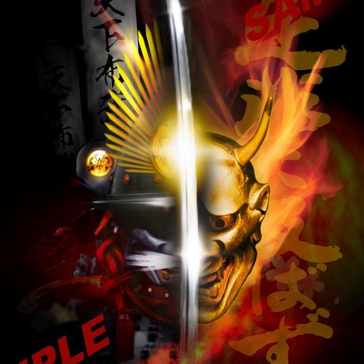 Japanese warrior SAMURAI 閻王-信長- 4切ワイド額入り HG