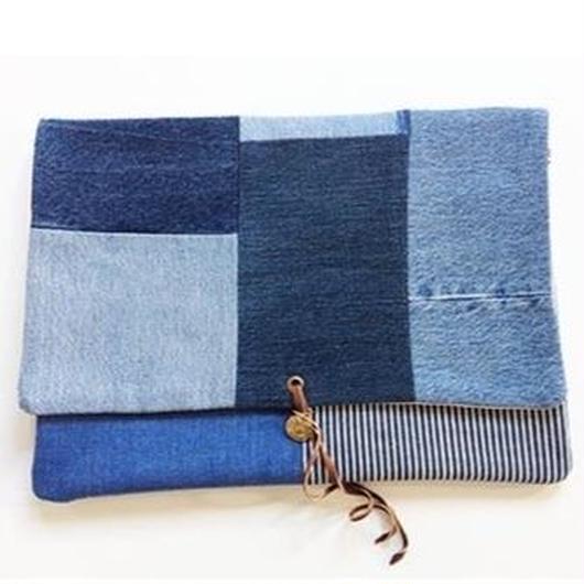 REMADE Clutch Bag 《クラッチバッグLサイズ  デニムパッチワーク》