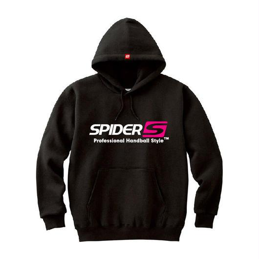 SPIDERハンドボールフーデッドパーカ SP-SPW01  ブラック×ホワイト×ネオンピンク